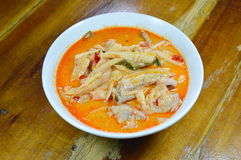 Spicy bamboo shoot with chicken in coconut cream and red curry on bowl Royalty Free Stock Images