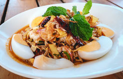 Spicy banana flower salad with seafood Royalty Free Stock Photo