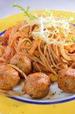 Spicy beef ball spaghetti Royalty Free Stock Images
