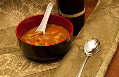 Spicy Beef Curry Meal. Beef Spicy Curry Soup with Spoons on Elegant Placemats Royalty Free Stock Photography