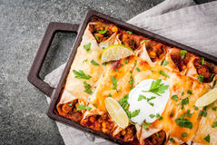 Spicy beef enchiladas Royalty Free Stock Images