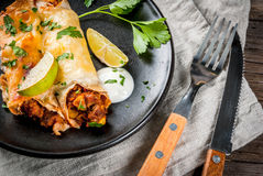 Spicy beef enchiladas Stock Images