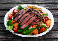 Spicy Beef Slices Meat Salad with vegetables Stock Photo