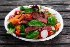 Spicy Beef Slices Meat Salad with vegetables Stock Images
