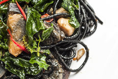 Spicy black spaghetti with century eggs Royalty Free Stock Photography