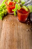 Spicy bloody mary cocktail with garnish royalty free stock photo
