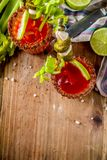 Spicy bloody mary cocktail with garnish stock image
