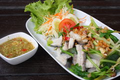 Spicy boiled fish thai style food. Boiled fish with spicy sauce thai style food Royalty Free Stock Photos
