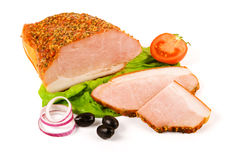 Spicy boiled ham and slices Stock Photo