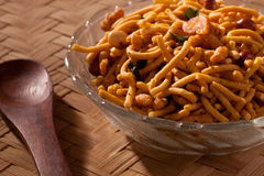 Spicy Bombay Mixture from India. Badshahi Mix - Chiwda a variable mixture of spicy dried ingredients Stock Image