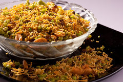 Spicy Bombay Mixture from India Stock Photo