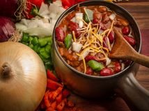 Spicy Bowl Of Chili Stock Photo