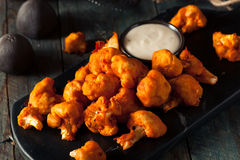 Spicy Breaded Buffalo Chicken Cauliflower. With Blue Cheese Sauce Stock Images
