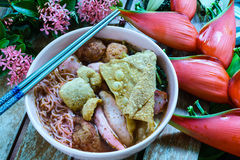 Spicy brewed bean curd noodle or yong tau foo or Yentafo Tomyam Royalty Free Stock Photography