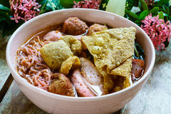 Spicy brewed bean curd noodle or yong tau foo or Yentafo Tomyam Royalty Free Stock Images