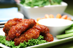 Spicy Buffalo style chicken wings Royalty Free Stock Images