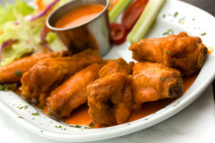 Spicy Buffalo Wings with Blue Cheese Dip Celery an Stock Image