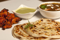 A spicy butter Paneer Masala with roti and kebab Royalty Free Stock Photo