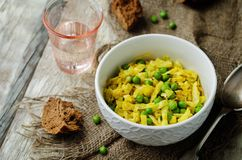 Spicy cabbage with green peas. Indian cuisine Stock Image