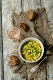 Spicy cabbage with green peas. Indian cuisine Stock Images