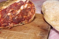 Spicy calabrese salami. Salame brawn, typical product spicy Calabrian natural of pork meat with spicy chili and natural flavors Royalty Free Stock Image