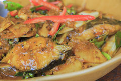 Spicy catfish Stir fry Royalty Free Stock Photography