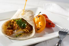 Spicy Cauliflower and Potato Mexican Burrito Royalty Free Stock Image