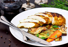 Spicy chicken breast fillet with grilled vegetables restaurant m Stock Photo