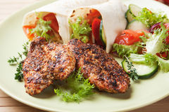 Spicy chicken breasts with vegetable salad Royalty Free Stock Images