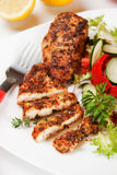 Spicy chicken breasts with vegetable salad Royalty Free Stock Photos