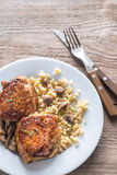 Spicy chicken with bulgur and mushrooms Stock Images