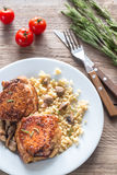 Spicy chicken with bulgur and mushrooms Royalty Free Stock Image