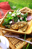 Spicy chicken chest with fresh spinach Royalty Free Stock Photo