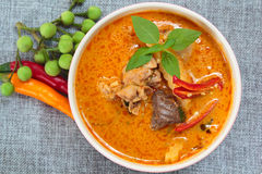 Spicy chicken curry with bamboo shoots. Stock Photography