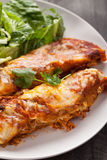 Spicy Chicken Enchiladas close up shot. Spicy chicken enchiladas with a side of light green salad on a dark wood background close up shot Royalty Free Stock Photo