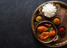 Spicy chicken legs with rice. Indian dish royalty free stock photo