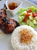 Spicy chicken meal. Asian Indonesia chicken with rice on a white Plate the restaurant Royalty Free Stock Photo
