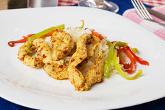 Spicy chicken meat with rice and bell pepper Stock Images