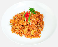 Spicy chicken noodles Royalty Free Stock Images