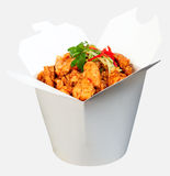 Spicy chicken noodles. With fresh chili and spring onion in take away box Royalty Free Stock Photos