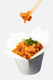 Spicy chicken noodles. With fresh chili and spring onion in take away box Stock Image