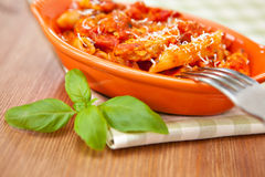 Spicy chicken penne pasta Stock Photos
