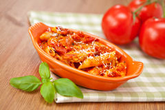 Spicy chicken penne pasta Stock Images