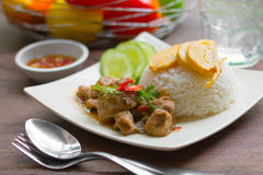 Spicy chicken with rice and sliced roll fried egg. Royalty Free Stock Photos