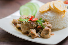 Spicy chicken with rice and sliced roll fried egg. Royalty Free Stock Photography