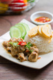 Spicy chicken with rice and sliced roll fried egg. Stock Photography