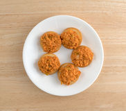 Spicy chicken salad on butter crackers on plate Royalty Free Stock Photography