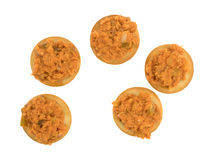 Spicy chicken salad on butter crackers top view Royalty Free Stock Photos
