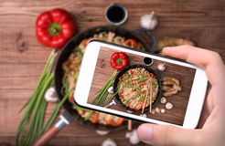 Spicy chicken and veggie noodles. Royalty Free Stock Image