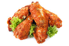 Spicy Chicken Wings. Buffalo wings, isolated on white background.  Delicious spicy chicken Royalty Free Stock Photography